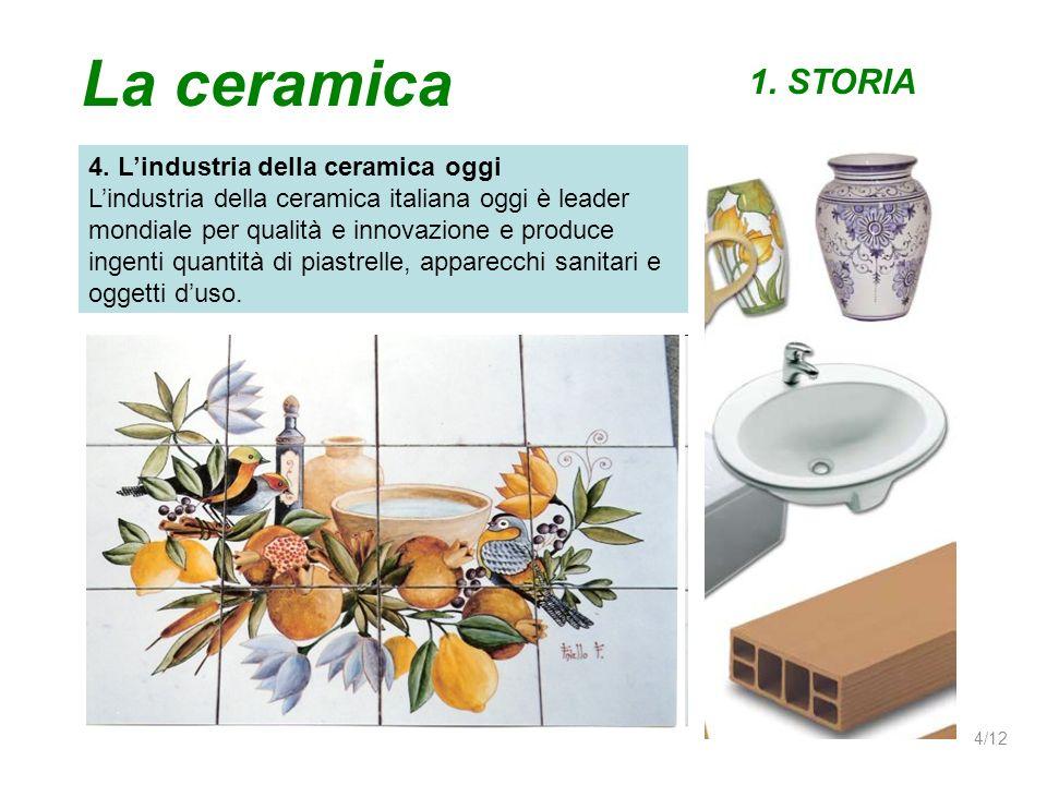La ceramica 1. STORIA 4. Lindustria della ceramica oggi Lindustria della ceramica italiana oggi è leader mondiale per qualità e innovazione e produce