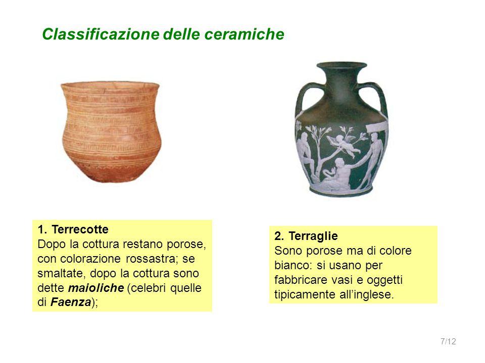 1. Terrecotte Dopo la cottura restano porose, con colorazione rossastra; se smaltate, dopo la cottura sono dette maioliche (celebri quelle di Faenza);