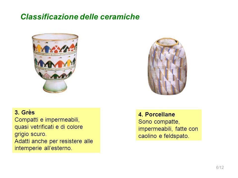Classificazione delle ceramiche 3. Grès Compatti e impermeabili, quasi vetrificati e di colore grigio scuro. Adatti anche per resistere alle intemperi