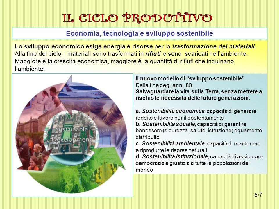 Economia, tecnologia e sviluppo sostenibile Lo sviluppo economico esige energia e risorse per la trasformazione dei materiali. Alla fine del ciclo, i