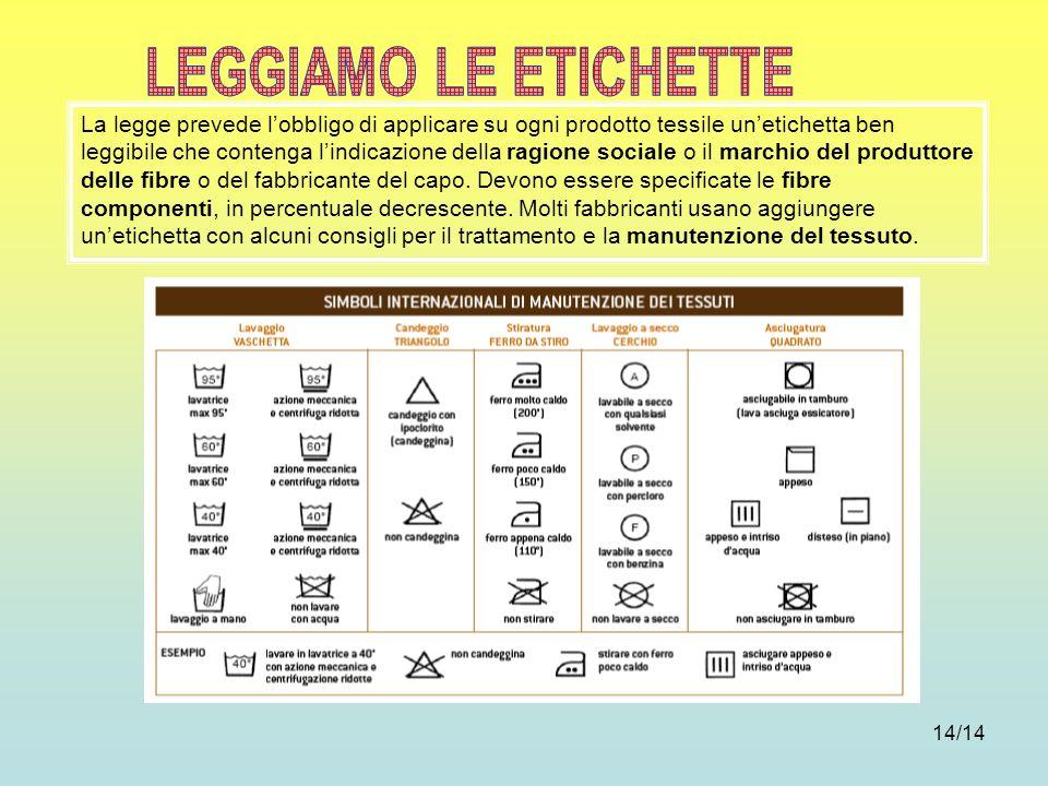 14/14 La legge prevede lobbligo di applicare su ogni prodotto tessile unetichetta ben leggibile che contenga lindicazione della ragione sociale o il m