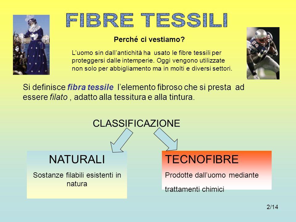 2/14 CLASSIFICAZIONE Si definisce fibra tessile lelemento fibroso che si presta ad essere filato, adatto alla tessitura e alla tintura. TECNOFIBRE Pro