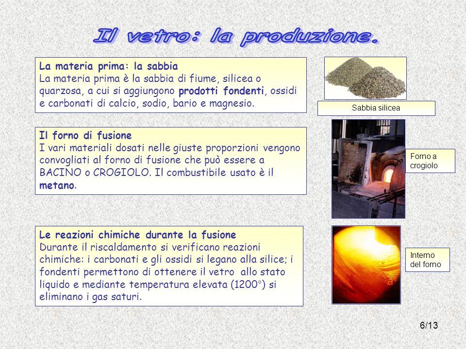 6/13 La materia prima: la sabbia La materia prima è la sabbia di fiume, silicea o quarzosa, a cui si aggiungono prodotti fondenti, ossidi e carbonati