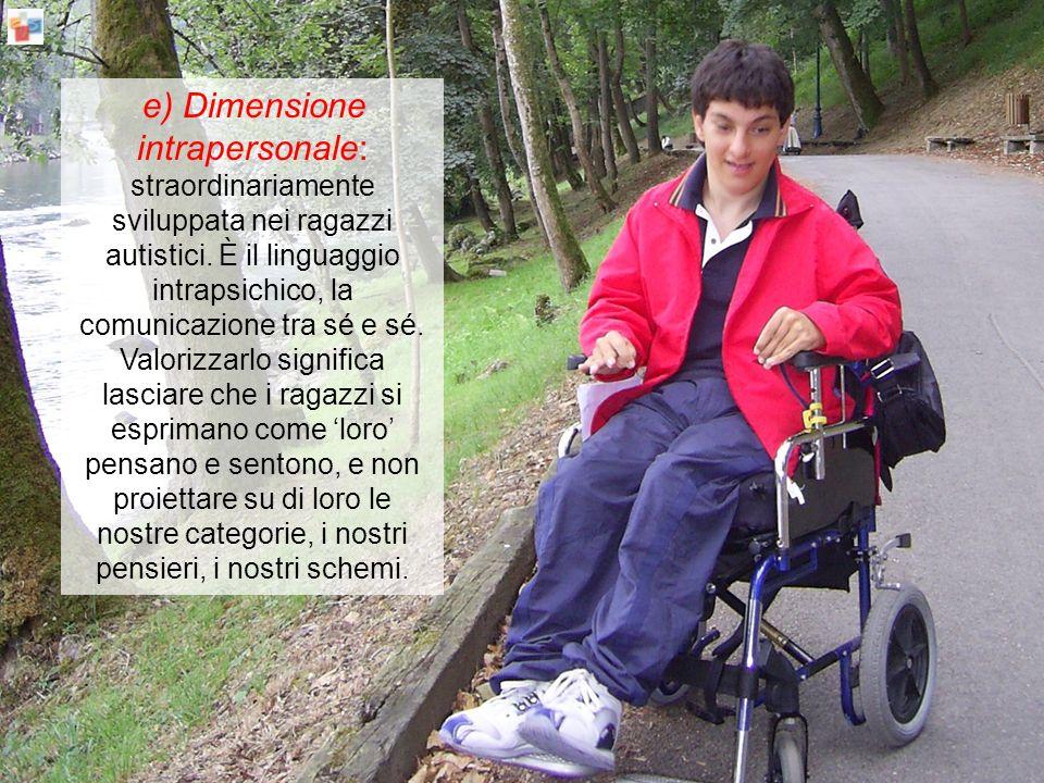 e) Dimensione intrapersonale: straordinariamente sviluppata nei ragazzi autistici.