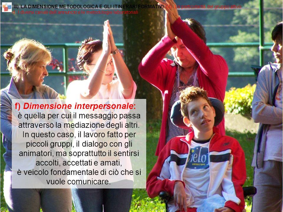 f) Dimensione interpersonale: è quella per cui il messaggio passa attraverso la mediazione degli altri.