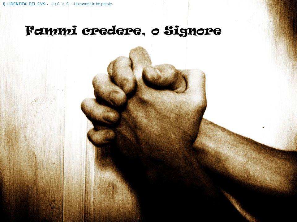 Vivere con fede e con gioia I) LIDENTITA DEL CVS - (1) C. V. S. – Un mondo in tre parole