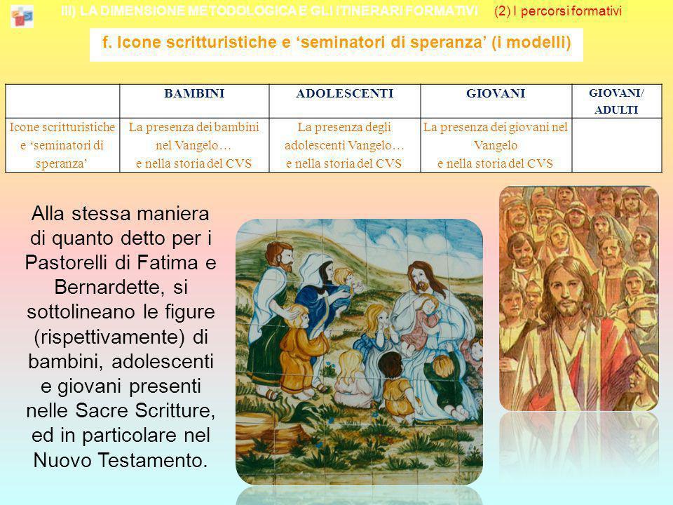 III) LA DIMENSIONE METODOLOGICA E GLI ITINERARI FORMATIVI (2) I percorsi formativi f. Icone scritturistiche e seminatori di speranza (i modelli) Alla