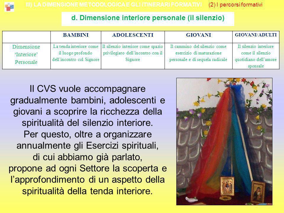 III) LA DIMENSIONE METODOLOGICA E GLI ITINERARI FORMATIVI (2) I percorsi formativi d. Dimensione interiore personale (il silenzio) Il CVS vuole accomp