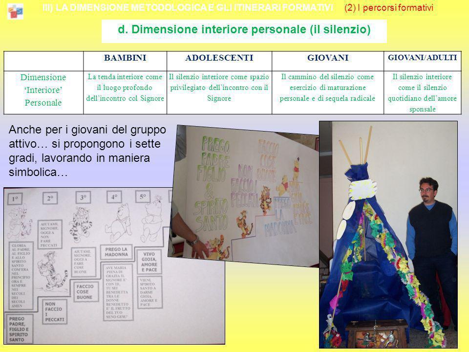 III) LA DIMENSIONE METODOLOGICA E GLI ITINERARI FORMATIVI (2) I percorsi formativi d. Dimensione interiore personale (il silenzio) Anche per i giovani