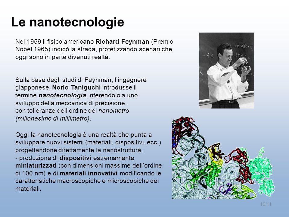Le nanotecnologie Sulla base degli studi di Feynman, lingegnere giapponese, Norio Taniguchi introdusse il termine nanotecnologia, riferendolo a uno sv