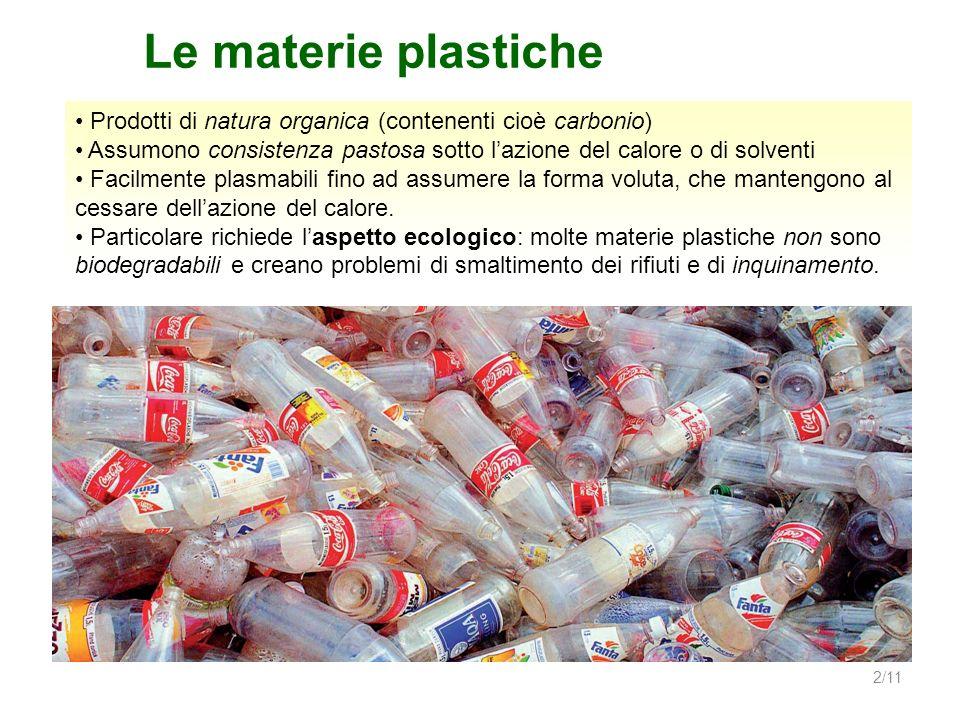 2/11 Le materie plastiche Prodotti di natura organica (contenenti cioè carbonio) Assumono consistenza pastosa sotto lazione del calore o di solventi F