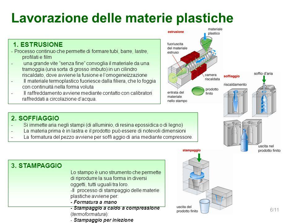 Lavorazione delle materie plastiche 6/11 1. ESTRUSIONE - Processo continuo che permette di formare tubi, barre, lastre, profilati e film - una grande