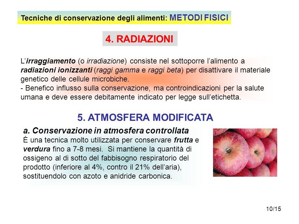 10/15 4. RADIAZIONI Lirraggiamento (o irradiazione) consiste nel sottoporre lalimento a radiazioni ionizzanti (raggi gamma e raggi beta) per disattiva