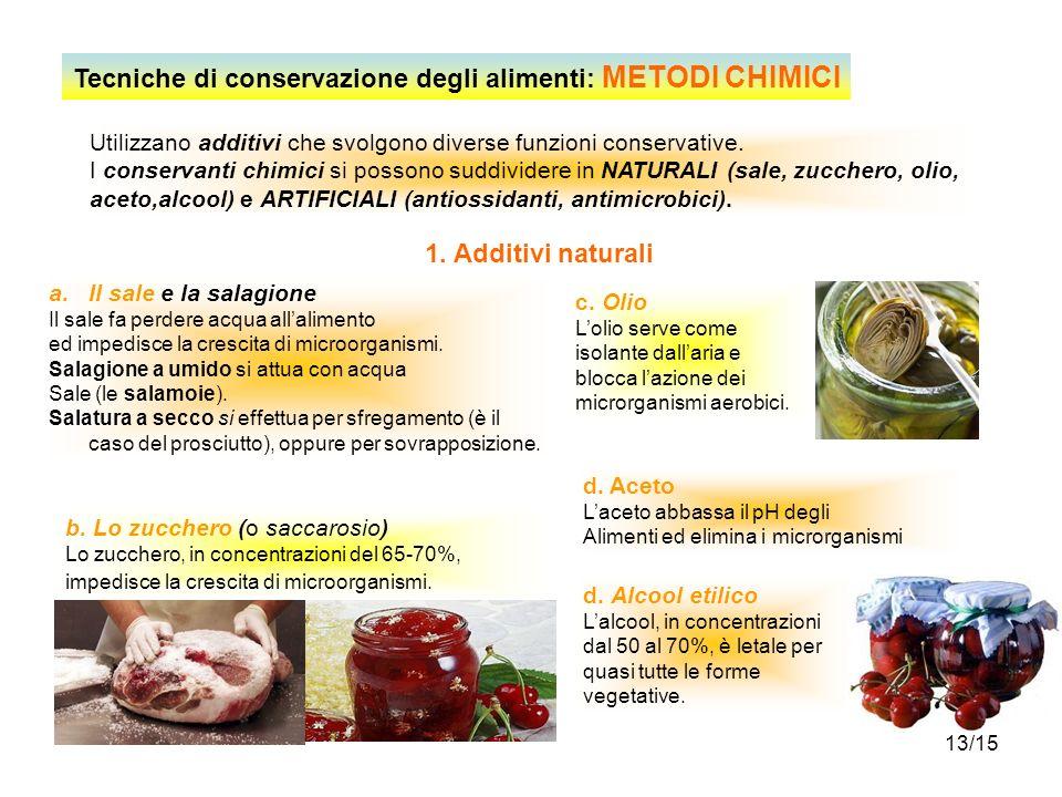 13/15 Tecniche di conservazione degli alimenti: METODI CHIMICI Utilizzano additivi che svolgono diverse funzioni conservative. I conservanti chimici s