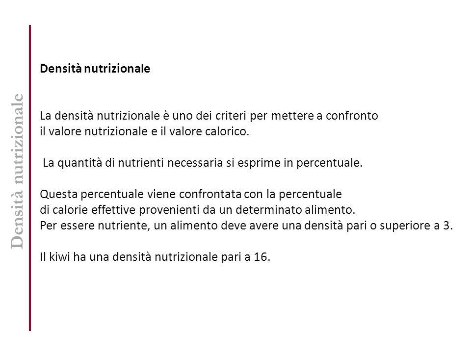 Densità nutrizionale La densità nutrizionale è uno dei criteri per mettere a confronto il valore nutrizionale e il valore calorico. La quantità di nut