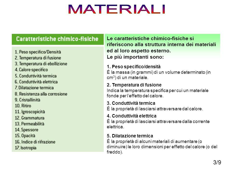 Le caratteristiche chimico-fisiche si riferiscono alla struttura interna dei materiali ed al loro aspetto esterno. Le più importanti sono: 1. Peso spe