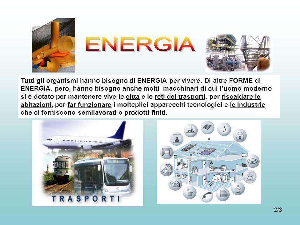2/8 Tutti gli organismi hanno bisogno di ENERGIA per vivere. Di altre FORME di ENERGIA, però, hanno bisogno anche molti macchinari di cui luomo modern