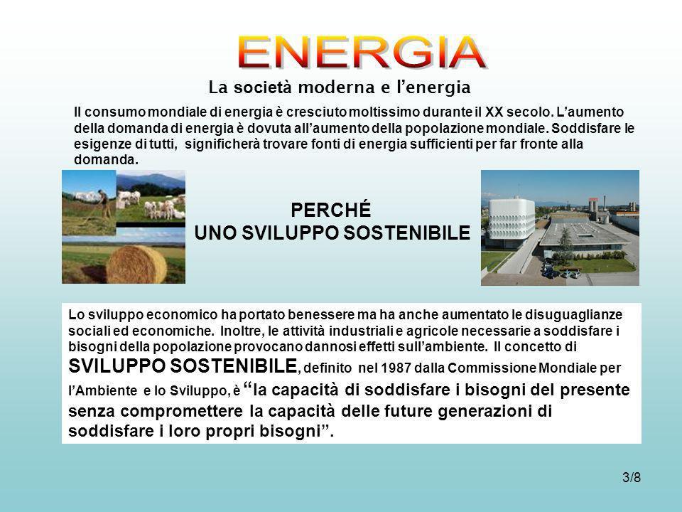 3/8 La società moderna e lenergia Il consumo mondiale di energia è cresciuto moltissimo durante il XX secolo. Laumento della domanda di energia è dovu