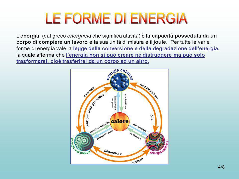 4/8 Lenergia (dal greco energheia che significa attività) è la capacità posseduta da un corpo di compiere un lavoro e la sua unità di misura è il joul