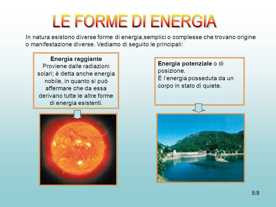 5/8 In natura esistono diverse forme di energia,semplici o complesse che trovano origine o manifestazione diverse. Vediamo di seguito le principali: E