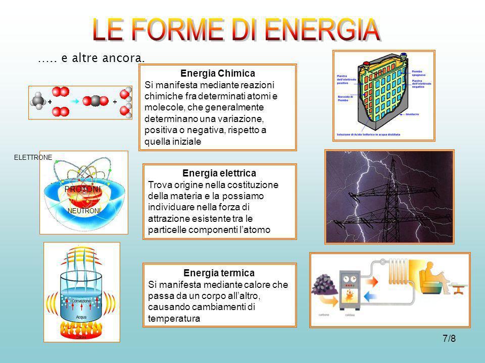 7/8 Energia Chimica Si manifesta mediante reazioni chimiche fra determinati atomi e molecole, che generalmente determinano una variazione, positiva o