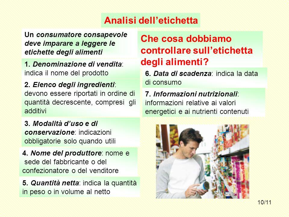 10/11 Analisi delletichetta Un consumatore consapevole deve imparare a leggere le etichette degli alimenti Che cosa dobbiamo controllare sulletichetta
