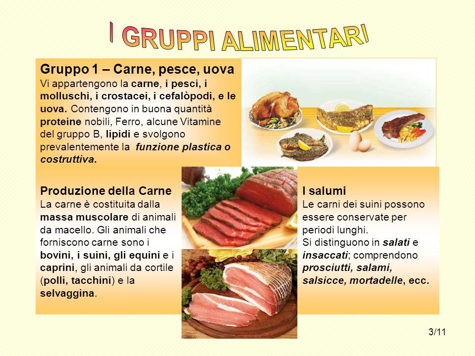 3/11 Gruppo 1 – Carne, pesce, uova Vi appartengono la carne, i pesci, i molluschi, i crostacei, i cefalòpodi, e le uova. Contengono in buona quantità