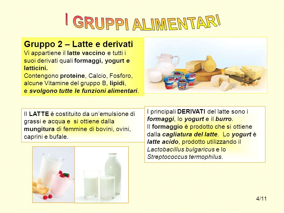 4/11 Gruppo 2 – Latte e derivati Vi appartiene il latte vaccino e tutti i suoi derivati quali formaggi, yogurt e latticini. Contengono proteine, Calci