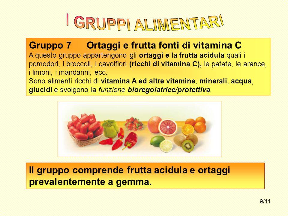 9/11 Gruppo 7Ortaggi e frutta fonti di vitamina C A questo gruppo appartengono gli ortaggi e la frutta acidula quali i pomodori, i broccoli, i cavolfi