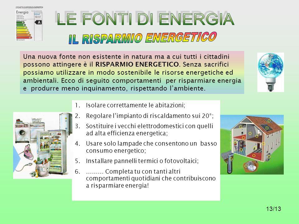 13/13 Una nuova fonte non esistente in natura ma a cui tutti i cittadini possono attingere è il RISPARMIO ENERGETICO. Senza sacrifici possiamo utilizz