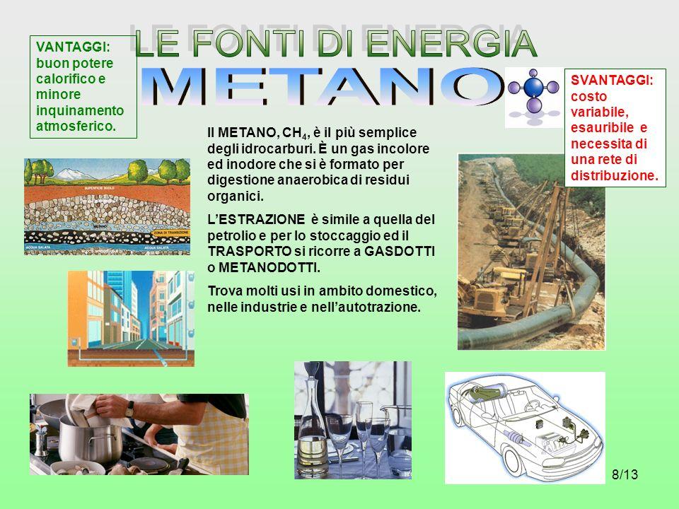 8/13 Il METANO, CH 4, è il più semplice degli idrocarburi. È un gas incolore ed inodore che si è formato per digestione anaerobica di residui organici