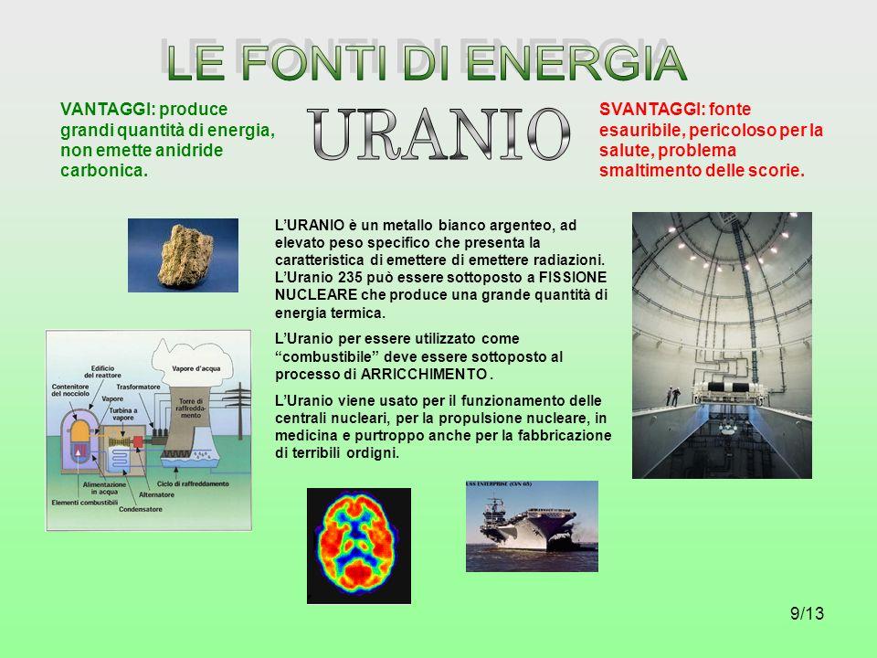 9/13 LURANIO è un metallo bianco argenteo, ad elevato peso specifico che presenta la caratteristica di emettere di emettere radiazioni. LUranio 235 pu