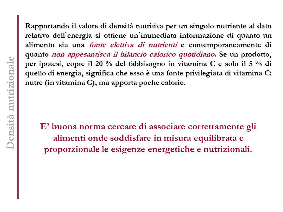 Densità nutrizionale Rapportando il valore di densità nutritiva per un singolo nutriente al dato relativo dell´energia si ottiene un´immediata informa
