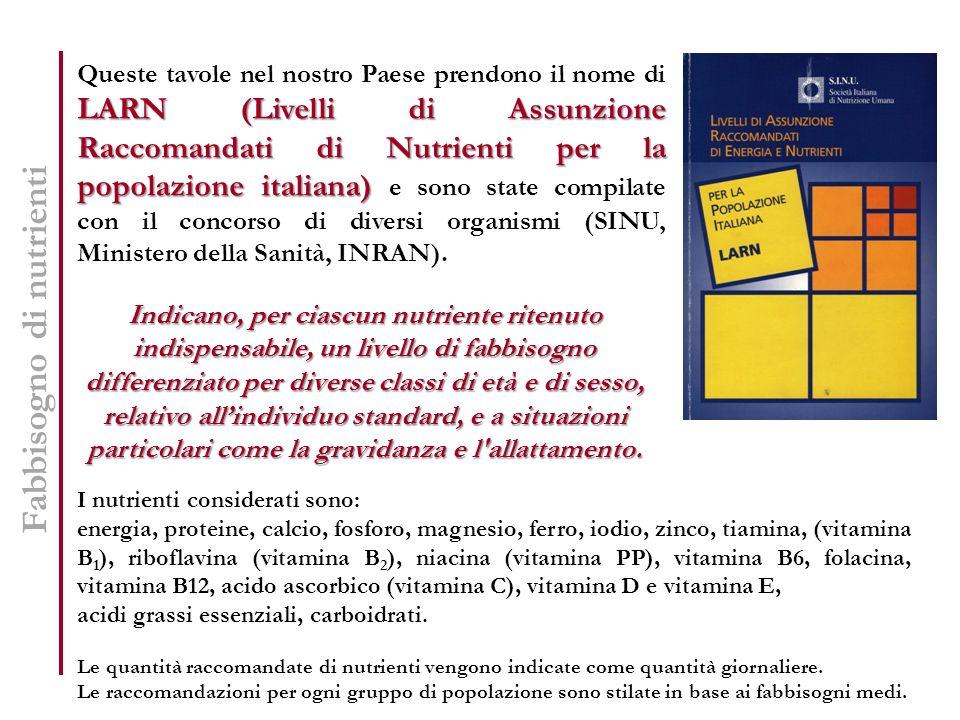 Fabbisogno di nutrienti LARN (Livelli di Assunzione Raccomandati di Nutrienti per la popolazione italiana) Queste tavole nel nostro Paese prendono il