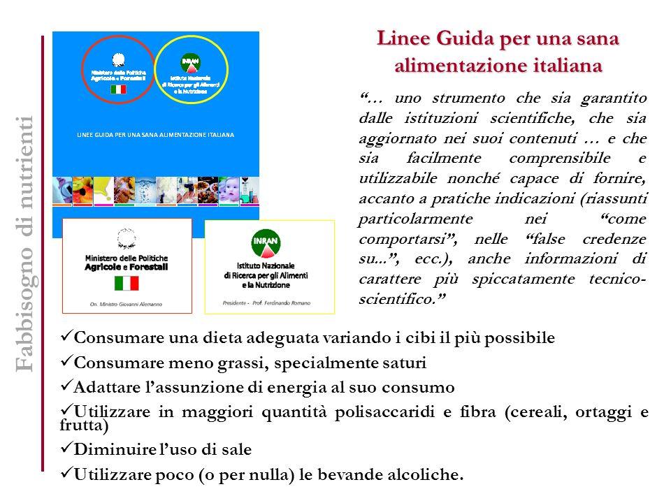 Linee Guida per una sana alimentazione italiana … uno strumento che sia garantito dalle istituzioni scientifiche, che sia aggiornato nei suoi contenut