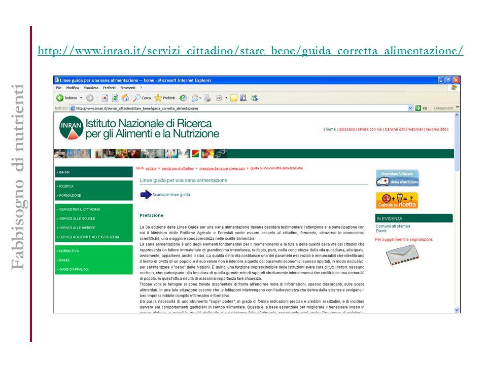http://www.inran.it/servizi_cittadino/stare_bene/guida_corretta_alimentazione/ Fabbisogno di nutrienti