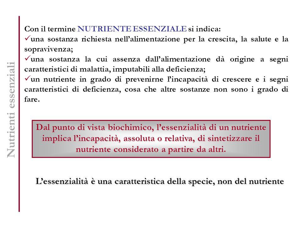 Nutrienti essenziali Con il termine NUTRIENTE ESSENZIALE si indica: una sostanza richiesta nellalimentazione per la crescita, la salute e la sopravive