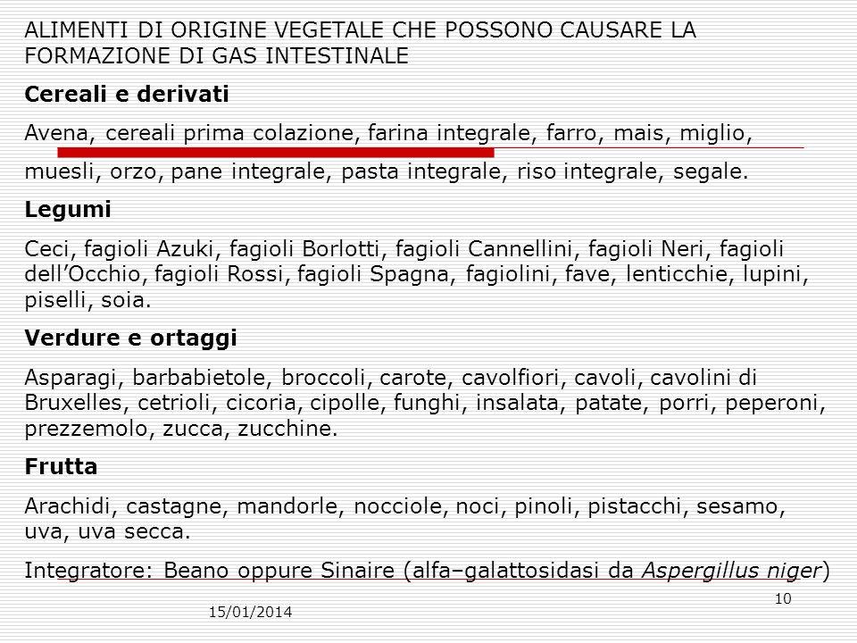 15/01/2014 10 ALIMENTI DI ORIGINE VEGETALE CHE POSSONO CAUSARE LA FORMAZIONE DI GAS INTESTINALE Cereali e derivati Avena, cereali prima colazione, far