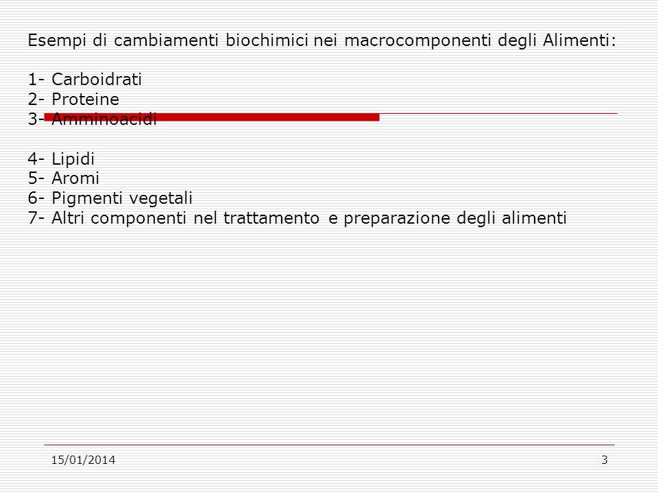 15/01/20143 Esempi di cambiamenti biochimici nei macrocomponenti degli Alimenti: 1- Carboidrati 2- Proteine 3- Amminoacidi 4- Lipidi 5- Aromi 6- Pigme