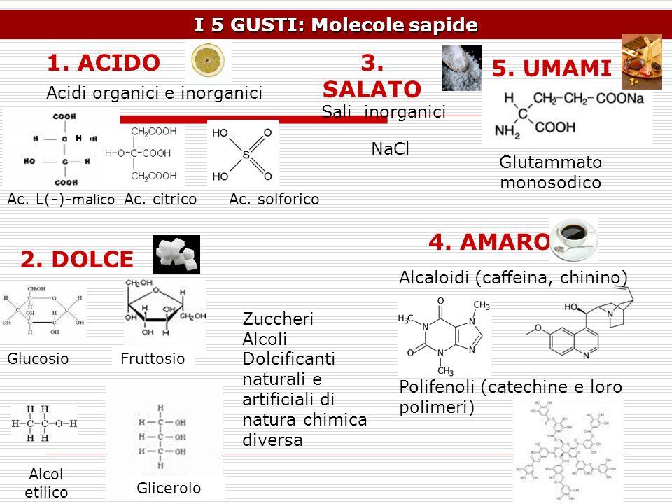 I 5 GUSTI: Molecole sapide Ac. citricoAc. L(-)- malico H 1. ACIDO Ac. solforico Acidi organici e inorganici GlucosioFruttosio Alcol etilico Glicerolo