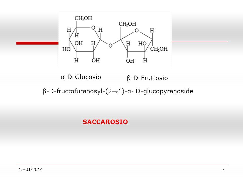 15/01/20147 α-D-Glucosio β-D-Fruttosio β-D-fructofuranosyl-(2 1)-α- D-glucopyranoside SACCAROSIO