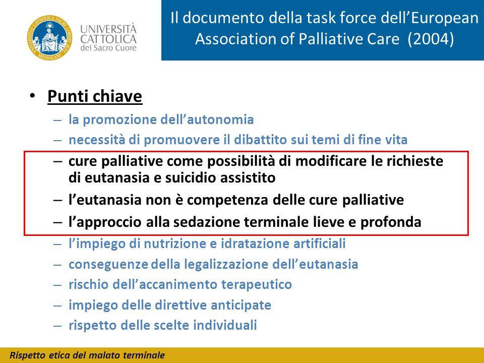Rispetto etica del malato terminale Il documento della task force dellEuropean Association of Palliative Care (2004) Punti chiave – la promozione dell