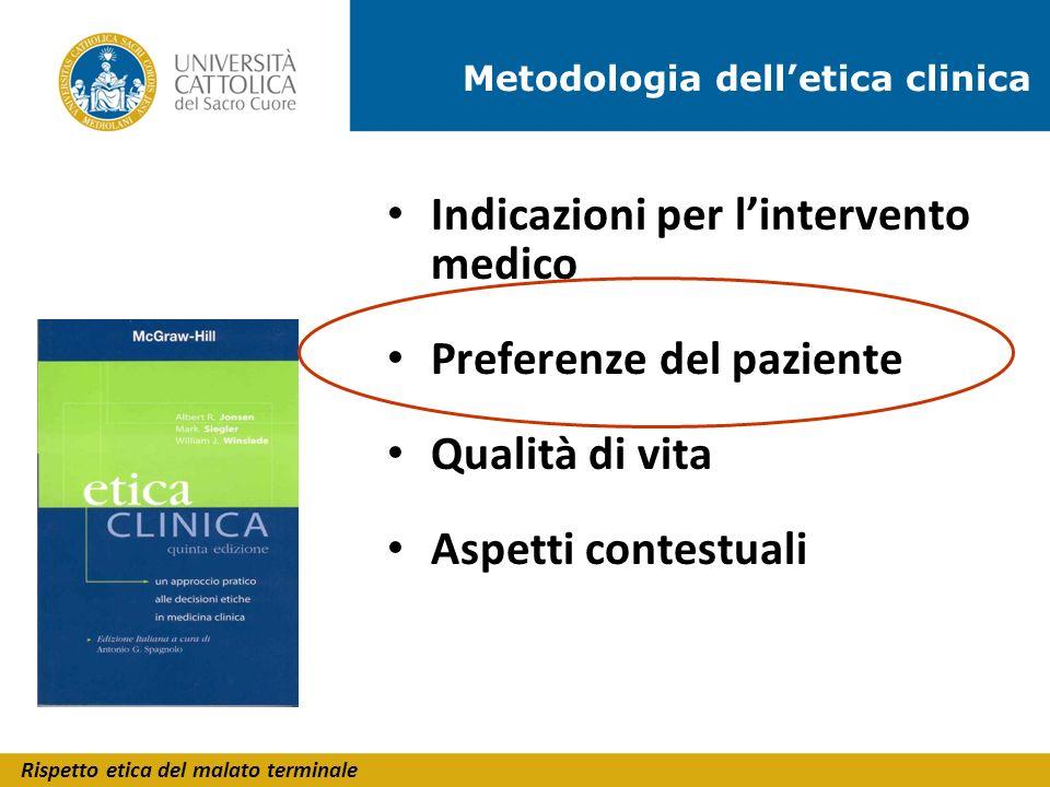 Rispetto etica del malato terminale Indicazioni per lintervento medico Preferenze del paziente Qualità di vita Aspetti contestuali Metodologia delleti