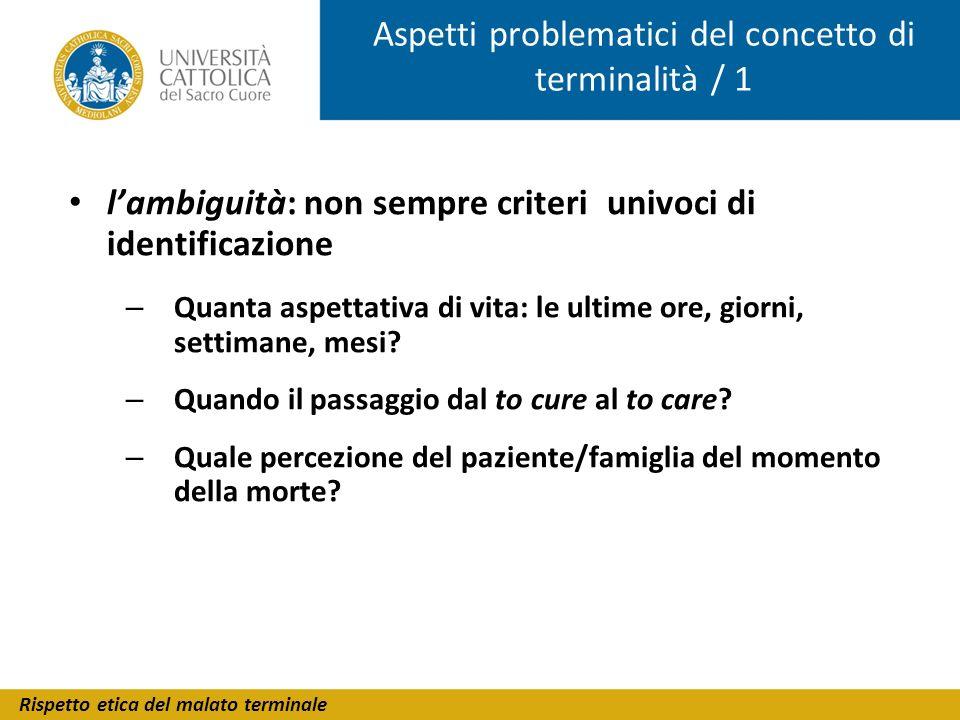 Rispetto etica del malato terminale Aspetti problematici del concetto di terminalità / 1 lambiguità: non sempre criteri univoci di identificazione – Q
