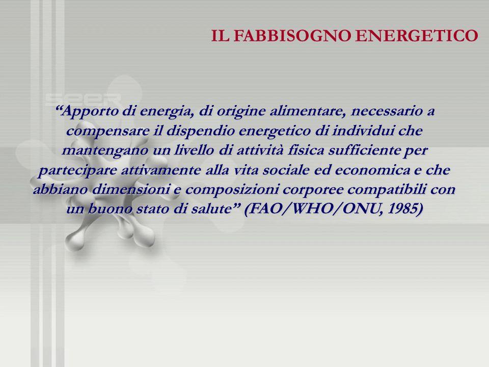 Apporto di energia, di origine alimentare, necessario a compensare il dispendio energetico di individui che mantengano un livello di attività fisica s