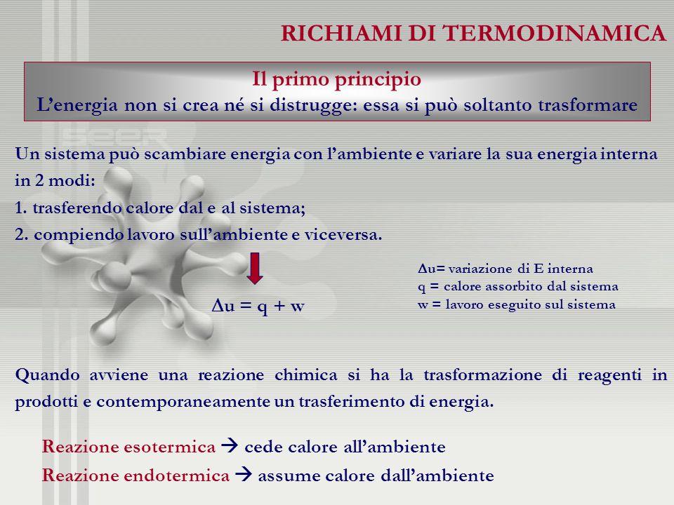 RICHIAMI DI TERMODINAMICA Il primo principio Lenergia non si crea né si distrugge: essa si può soltanto trasformare Un sistema può scambiare energia c