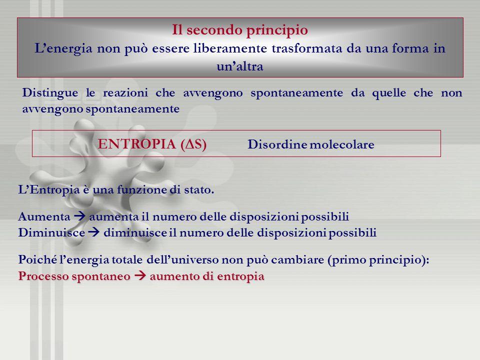 Il secondo principio Lenergia non può essere liberamente trasformata da una forma in unaltra Distingue le reazioni che avvengono spontaneamente da que