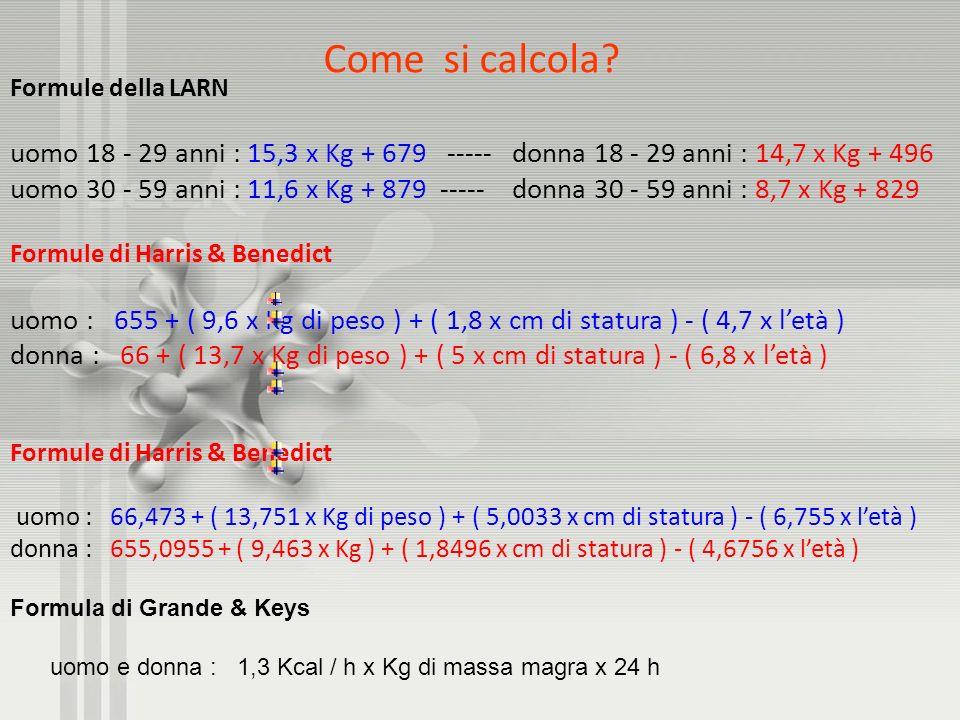Come si calcola? Formule della LARN uomo 18 - 29 anni : 15,3 x Kg + 679 ----- donna 18 - 29 anni : 14,7 x Kg + 496 uomo 30 - 59 anni : 11,6 x Kg + 879