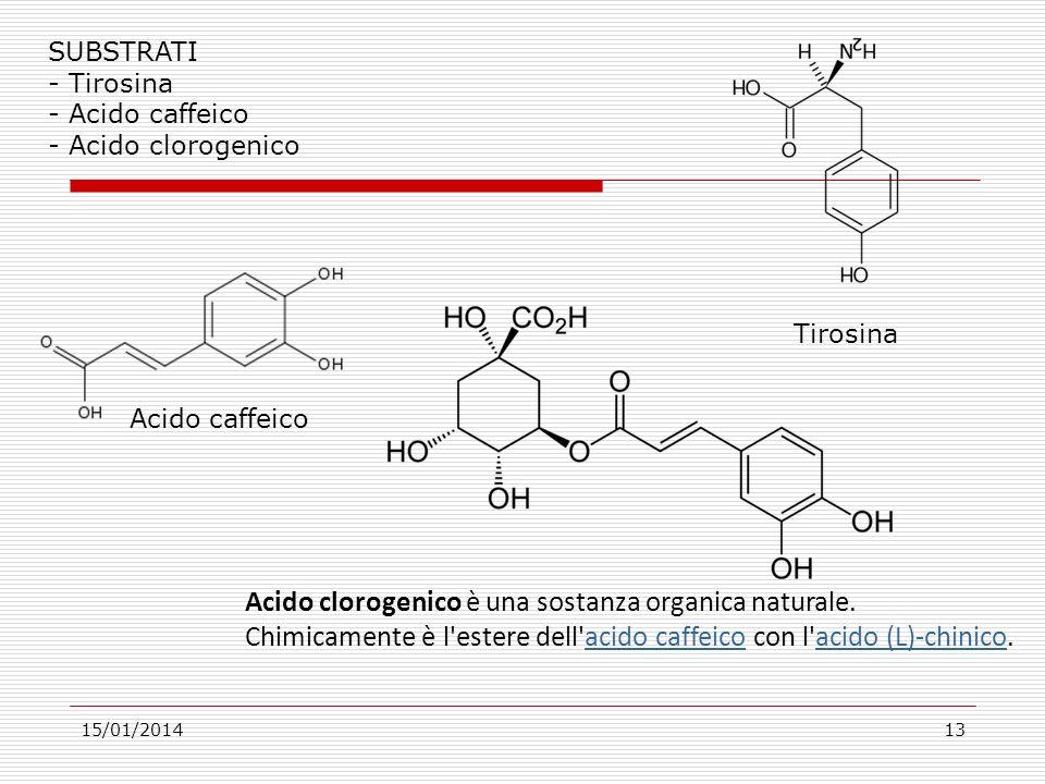 15/01/201413 SUBSTRATI - Tirosina - Acido caffeico - Acido clorogenico Acido clorogenico è una sostanza organica naturale.
