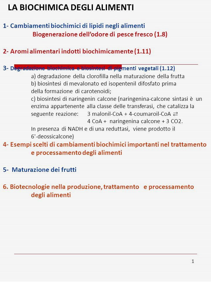 LA BIOCHIMICA DEGLI ALIMENTI 1- Cambiamenti biochimici di lipidi negli alimenti Biogenerazione dellodore di pesce fresco (1.8) 2- Aromi alimentari indotti biochimicamente (1.11) 3- Degradazione biochimica e biosintesi di pigmenti vegetali (1.12) a) degradazione della clorofilla nella maturazione della frutta b) biosintesi di mevalonato ed isopentenil difosfato prima della formazione di carotenoidi; c) biosintesi di naringenin calcone (naringenina-calcone sintasi è un enzima appartenente alla classe delle transferasi, che catalizza la seguente reazione: 3 malonil-CoA + 4-coumaroil-CoA 4 CoA + naringenina calcone + 3 CO2.